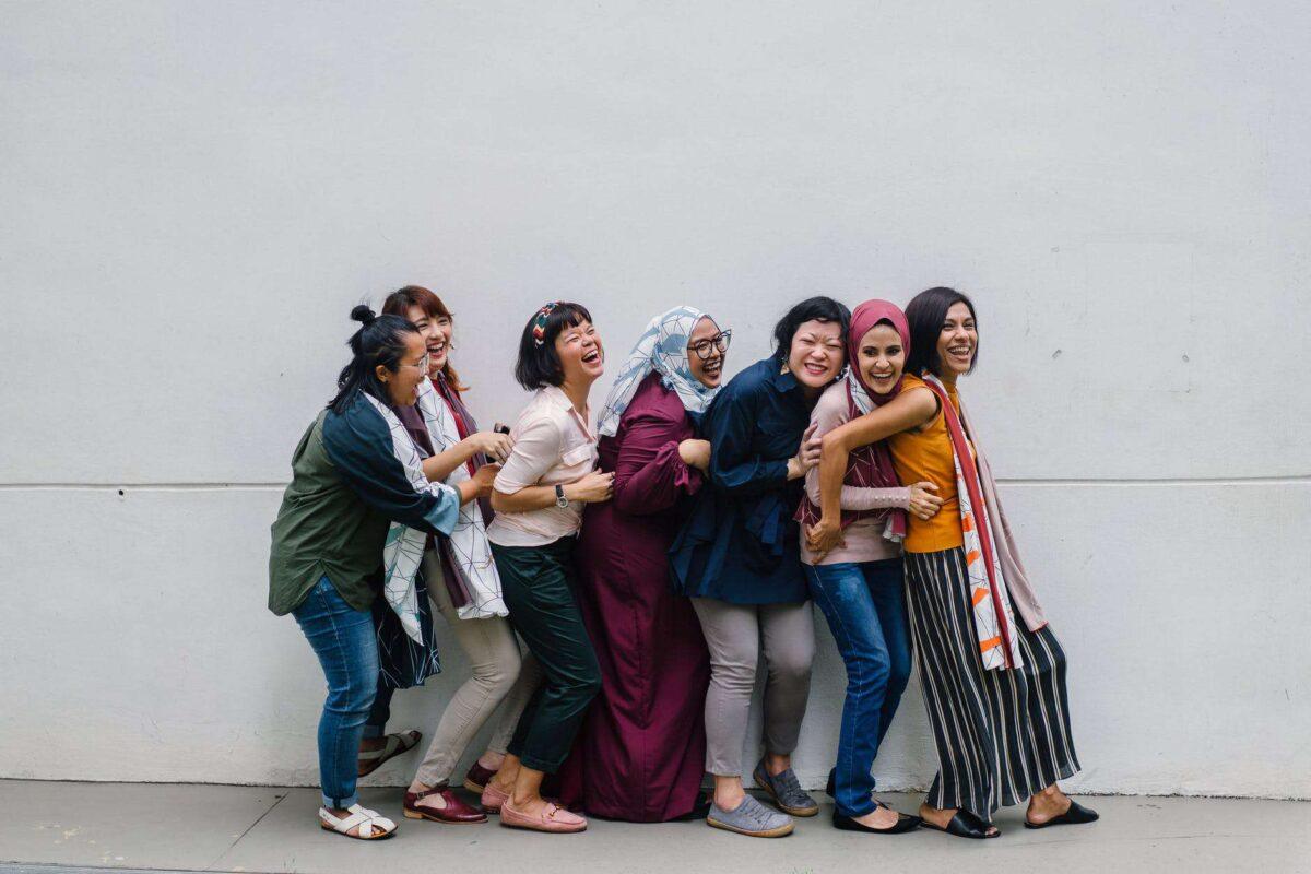Women friends in a line